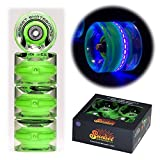 Sunset Skateboards Blacklight 59mm Cruiser LED Light-Up Wheels Set with ABEC-7 Carbon Steel Bearings (4-Pack)