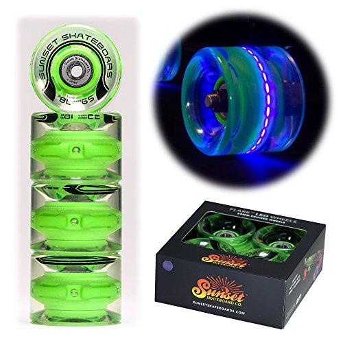 Sunset Skateboards Blacklight 59mm Cruiser LED Light-Up Wheels Set with ABEC-7 Carbon Steel Bearings (4-Pack) by Sunset Skateboards