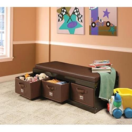 This Beautiful Kids Leather Style Padded Bench With 3 Large Storage Drawers  In Espresso Color Adds Elegance While Helping Your Child To Stay Tidy!