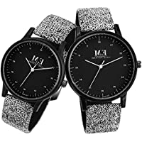 ❄Christmas Gifts❄ Menton Ezil Classic His and Hers Couples Matching Watch Leather Band Quartz Wrist Watches for Women and Men - Set of 2