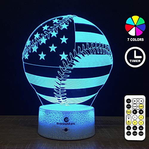 (Easuntec Baseball Gifts for Boys,Baseball Night Light with Timing Remote Control & Smart Touch 7 Colors Kids Toys Age 5 6 7 8 9 10 Year Old Girl or Boy)