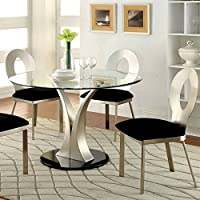 247SHOPATHOME IDF-3727T-5PC Dining-Room-Sets, Silver