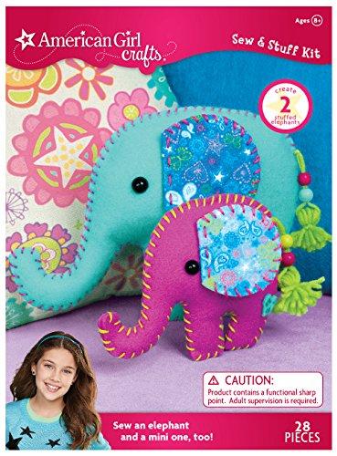 American Girl Crafts DIY Elephant Stuffed Animals Sew and Stuff Kit, 7'' W x 9.75'' H and 6.75'' W x 4.75'' H -
