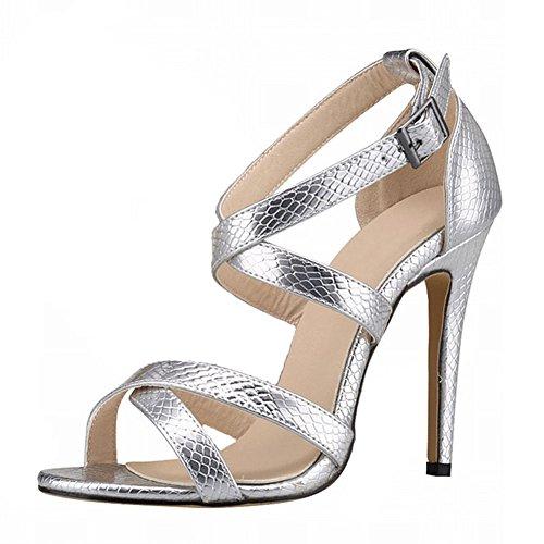 Argent Crocodile Talons Aiguilles Hauts Chaussures Talons Nouvelles Zhuhaixmy Femmes Toe Été Sandales Motif Peep qwBT6AAO