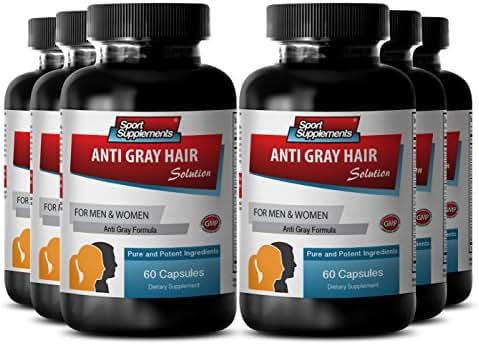 Catalase for grey hair - Anti Gray Hair - Gray hair anti, Biotin powder (6 Bottles - 360 Capsules)
