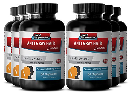 Biotin pills - Anti Gray Hair - Gray hair remedy (6 Bottles - 360 Capsules) by Sport Supplement