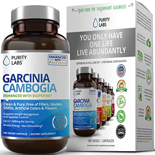 Garcinia Cambogia Appetite Suppressant - Concentrated Pure 60% HCA Extract - Includes BioPerine for Maximum Absorption 1500mg, Natural Weight Loss, NO GMOs, No Gluten - 2 Month Supply - 180 Capsules