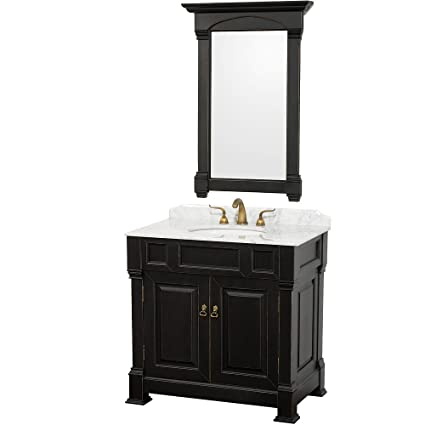 Wyndham Collection Andover 36 inch Single Bathroom Vanity in Antique Black,  White Carrera Marble Countertop - Wyndham Collection Andover 36 Inch Single Bathroom Vanity In Antique