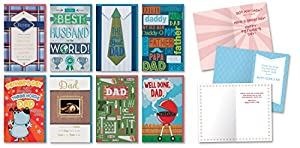 Happy Father's Day Cards Pack of 8 Different Handmade Greeting Cards Embellished with Love Boxed Fathers Day Cards for Dad Envelopes Included