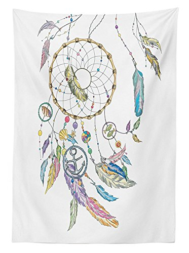 Mop Native (vipsung Native American Decor Tablecloth Ethnic Dreamcatcher with Marine Objects Shell Fish Anchor Boho Print Image Dining Room Kitchen Rectangular Table Cover Multi)