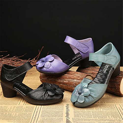 Image of Socofy Soft Leather Sandals,Retro Fashion Flower Block Hoop Loop Comfortable Round Head Mid Heel Shoes