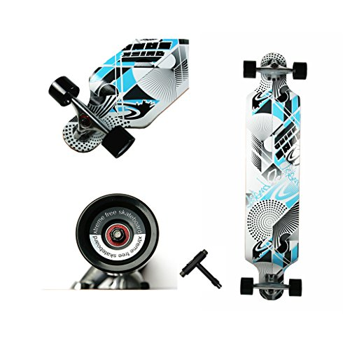 WiiSHAM 42 Inchs Professional Speed Downhill Drop Through Complete Longboard Skateboard