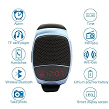TAKSON Bluetooth music Watch phone mobile speaker Sports Speaker watch Portable Bicycle Speaker music Wireless Speakers watch Hands-free Call Selfie FM for Walking Running Climbing Bicycling (Blue)