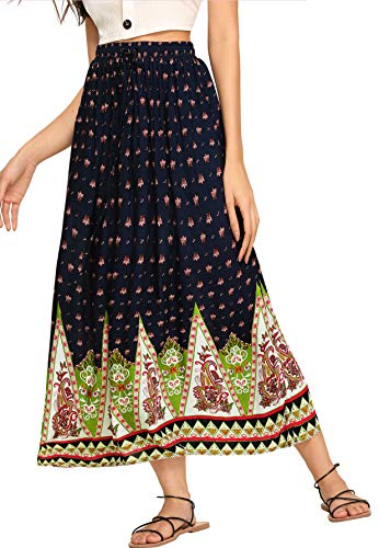 Milumia Women's Boho Vintage Print Pockets A Line Maxi Skirt Multicolor-5 L (Color Skirt Multi Print)
