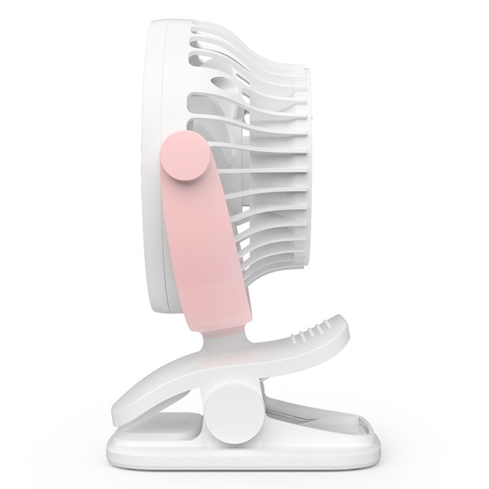 Baby Stroller Clip USB Fan Battery Operated Fan, Rechargeable, Quiet Design, Portable, 4-Speed Adjustable, for Desk, Tents, Car, Bed New- 4 Colors,Pink by YWXJY (Image #2)