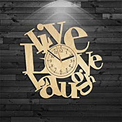 Live Love Laugh Wood Clock, Live Love Laugh Wooden Clock, Cute Birthday Gift, Wall Clock Large, Wall Clock Modern, Gift For Kids, Live Love Laugh Gift For Girl, Wall Clock Vintage, Gift For Woman