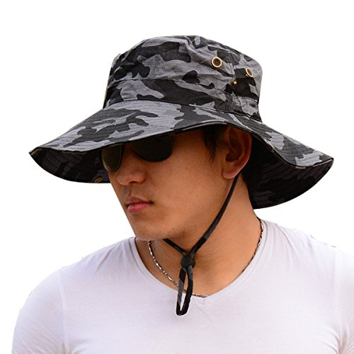 Men Women Wide Brim Bucket Hat, Cowboy UPF 50+ Sun Protection Cap, Foldable Boonie Fishing Hiking Hat,Gray Camouflage - Bucket Brim Large