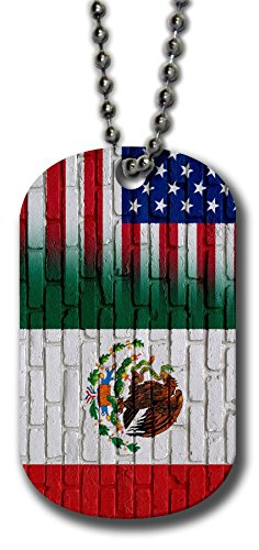 (Aluminum Dog Tag Necklace and Key Ring - Flag of Mexico (Mexican) - Bricks/USA)