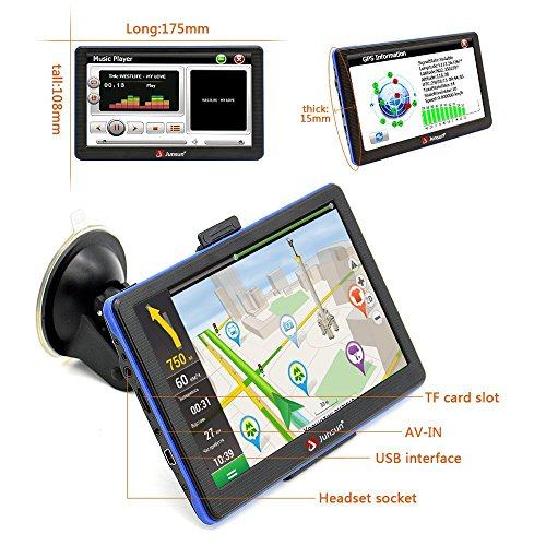 junsun household car GPS 7 Inch Bluetooth Navigation 8GB 256MB System North America free map update household car GPS