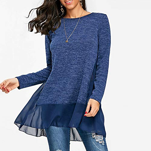 Blue Fashion Pullover Neck Sleeve Sweatshirt T Blouse Tops Longra Blouse Shirt O Loose Womens Long OqaW5w6