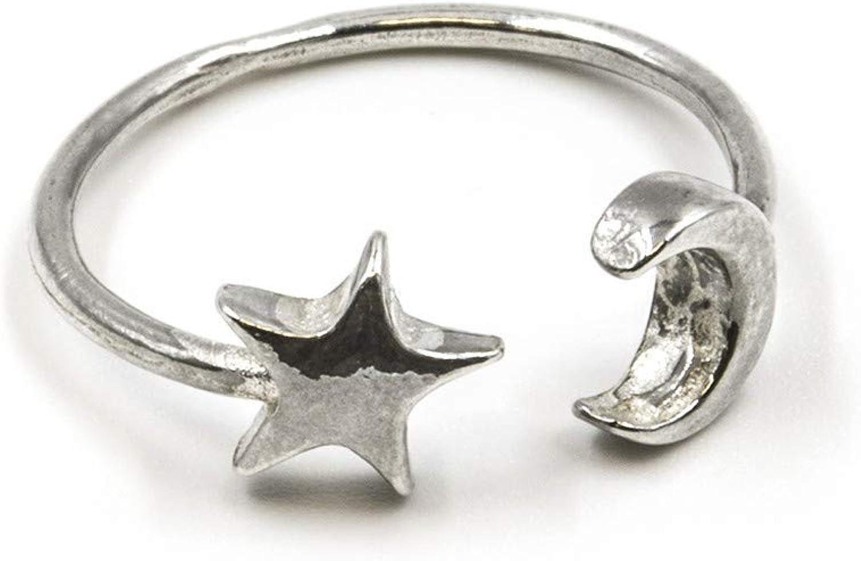 Anillo abierto de plata de primera ley luna y estrella