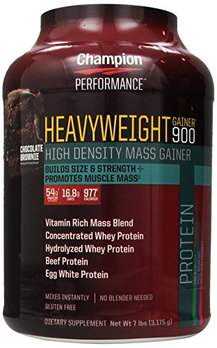 Champion Heavyweight Gainer Nutrition 900 calories haute densité Mass Gainer, Chocolate Brownie 7 livres