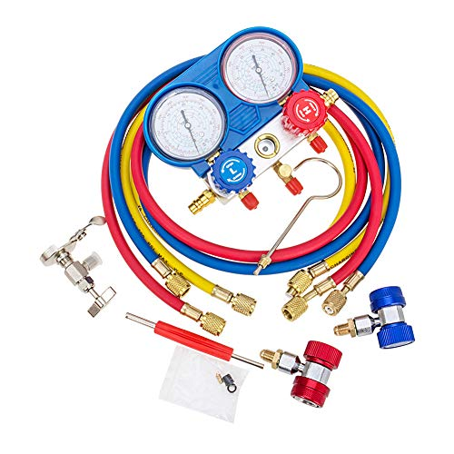 - AC Manifold Gauge Set High Performance 500 PSI R134A Manifold Gauge with Coupler and Adapter for R-134a R12 R22 Refrigerants Low and High A/C Pressure Gauge Kit