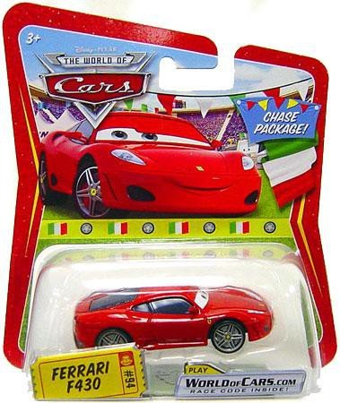 F430 Ferrari Diecast (Disney / Pixar CARS Movie 1:55 Die Cast Car Series 3 World of Cars Ferrari F430 in Italian Package Chase Piece!)