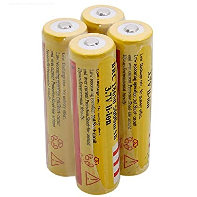 Worldoor® New arrival 4PCS 4Pcs 18650 3.7V 5000mAH Rechargeable Lithium Battery Yellow