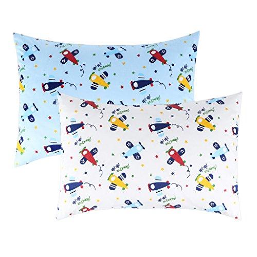 IBraFashion Toddler Pillowcases for Boys 100% Cotton 14x19 For 13x18, 12x16 Pillow Airplanes Printings Set of 2 by IBraFashion