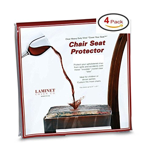 Clear Vinyl Chair Protectors Fits Chairs up to 21 Inches by 21 Inches - Set of 4 (Clear) (Plastic Chair Covers)