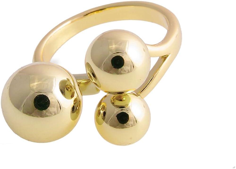 CHUANGYUN Triple Ball Trinity Polished Open Cuff Ring