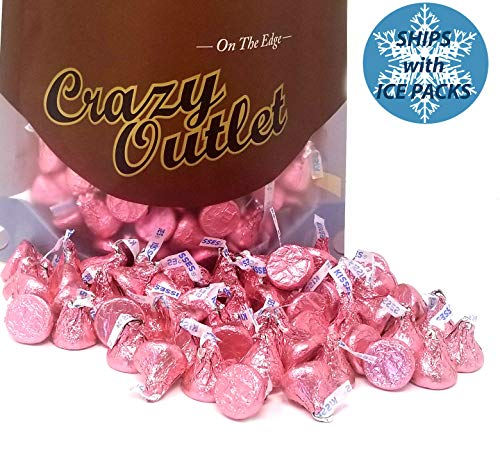 CrazyOutlet Pack - Hershey's Kisses Pink Foils, Milk Chocolate Candy Bulk, 2 lbs