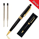 Candumy Ballpoint Pen Black Writing Set for Signature, Retractable Classic Design with Golden Trim, Gift Pens for Men Women, School, Office, Business Medium Black Point Refill-2 Pack (2 Pen,4 Refill)