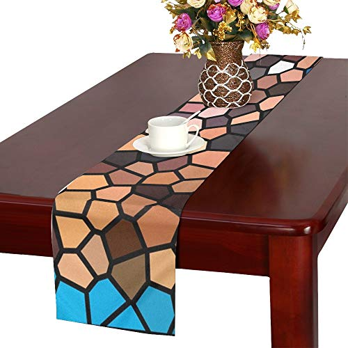 Jnseff Mosaic Structure Tile Blue Brown Black Table Runner, Kitchen Dining Table Runner 16 X 72 Inch For Dinner Parties, Events, Decor ()