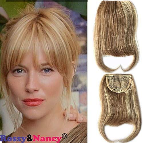 Rossy&Nancy 27/613 Blonde Mixed Brown Color Brazilian Human Hair Clip-in Hair Bangs Full Fringe Short Straight Hair Extension for women 6-8inch