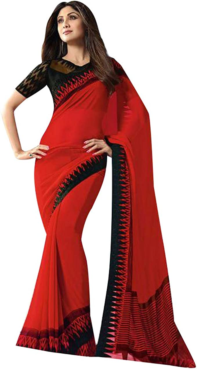 Amazon Com Red Designer Bollywood Shilpa Shetty Fancy Saree With Blouse Piece Sari For Women Evening Cocktail Wear 7852 Clothing