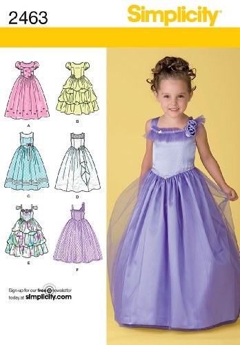 Simplicity Princess Dress Sewing Pattern for Girls, Sizes 5-8