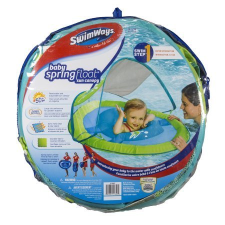 - Swimways Baby Spring Float with Sun Canopy - Green Fish