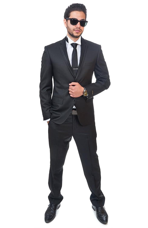 Slim Fit Men Suit / Tuxedo Trim Collar Black 2 Button Flat Front ...