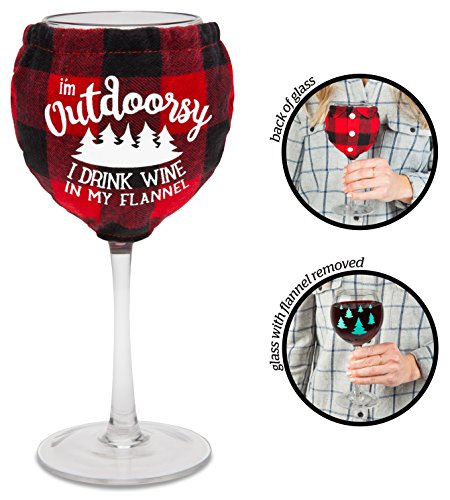 BigMouth Inc. The Flannel Shirt Wine Glass- 14 oz Wine Glass with Evergreen Tree Graphics, Includes Removeable Flannel Shirt with Funny Saying - Easy to Clean, Makes a Great Gift