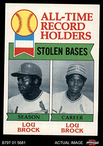 1979 Topps # 415 All-Time Record Holders - Stolen Bases Lou Brock St. Louis Cardinals (Baseball Card) Dean's Cards 7 - NM Cardinals