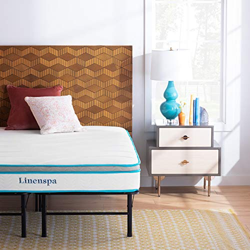 Linenspa 8 Inch Memory Foam and Innerspring Hybrid Mattress with Linenspa 14 Inch Folding Platform Bed Frame - Twin XL