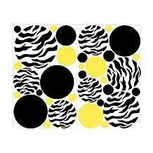 Mini- Zebra Print Yellow and Black Dots Wall Stickers / Decals