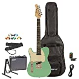 Sawtooth ST-ET-LH-SGRW-KIT-3 Left Handed Electric Guitar, Surf Green with Aged White Pickguard