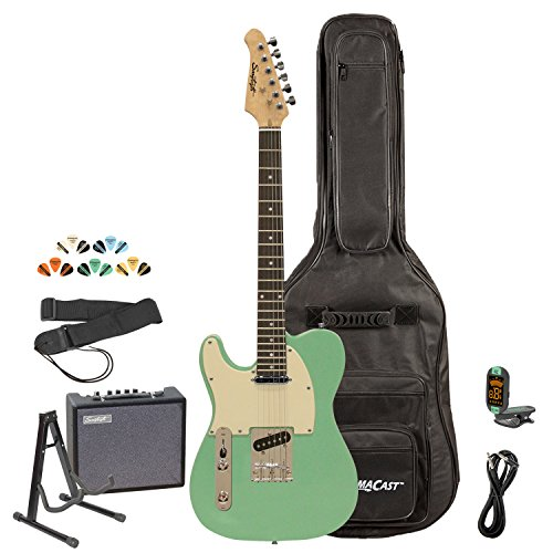 Sawtooth ST-ET-LH-SGRW-KIT-3 Left Handed Electric Guitar, Surf Green with Aged White Pickguard by Rise by Sawtooth
