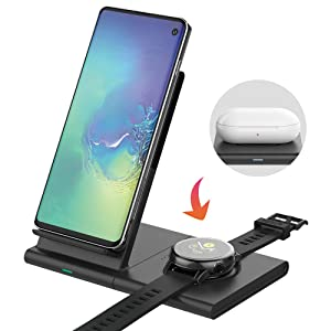 Mostof Wireless Charger Stand with Pad, Qi Fast Charging Station Compatible Samsung Galaxy Watch Active/Active 2/42mm/46mm/Gear, Galaxy Note10/S10/S9, iPhone 11/11 Pro/XR/X/8, AirPods 2, Galaxy Buds