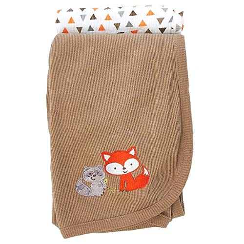 Koala Baby 2-Pack Cotton Thermal Receiving Swaddle Blanket (Brown Fox)