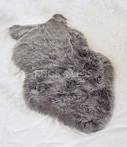 Rugs 4 Less Collection – Faux Fur Wolf Sheep Bear Imitation Skin Fur Pelt Shag Rug - Grey (Fox Fur Rug)