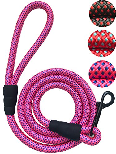 Dog Rope Leash Strong and Durable Braided Nylon Rope for Small/Medium/Large Dogs, Pink ()